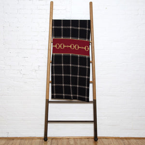 Eco Horse Bit Plaid Black/Pom/Straw Throw