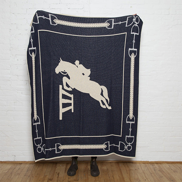 Eco Striped Equestrian Jumper Marine/Flax/Silver Throw