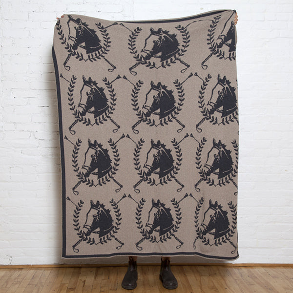 Eco Equestrian Crest Throw Reversible Hemp/Black