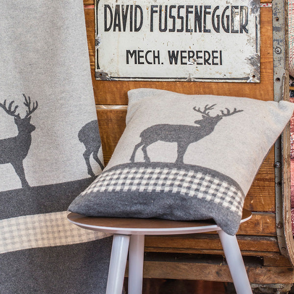 David Fussenegger Grey Deer Checks Cushion