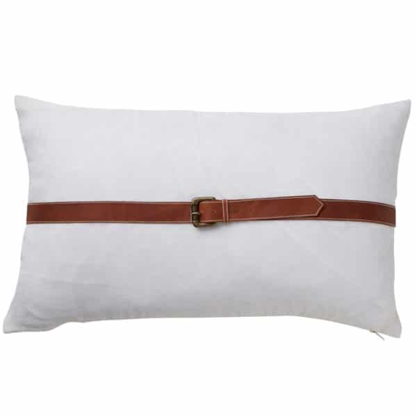 Paloma Living Leather Linen Belt Cushion 30cm x 50cm