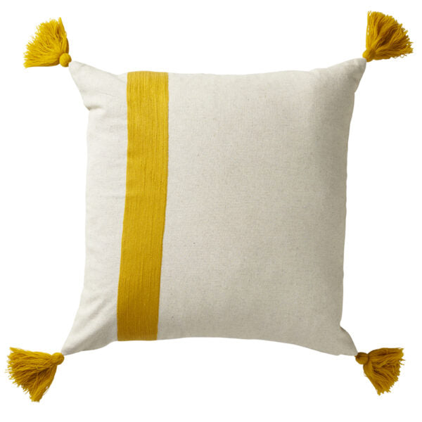 Paloma Living Striped Tassel Yellow Cushion