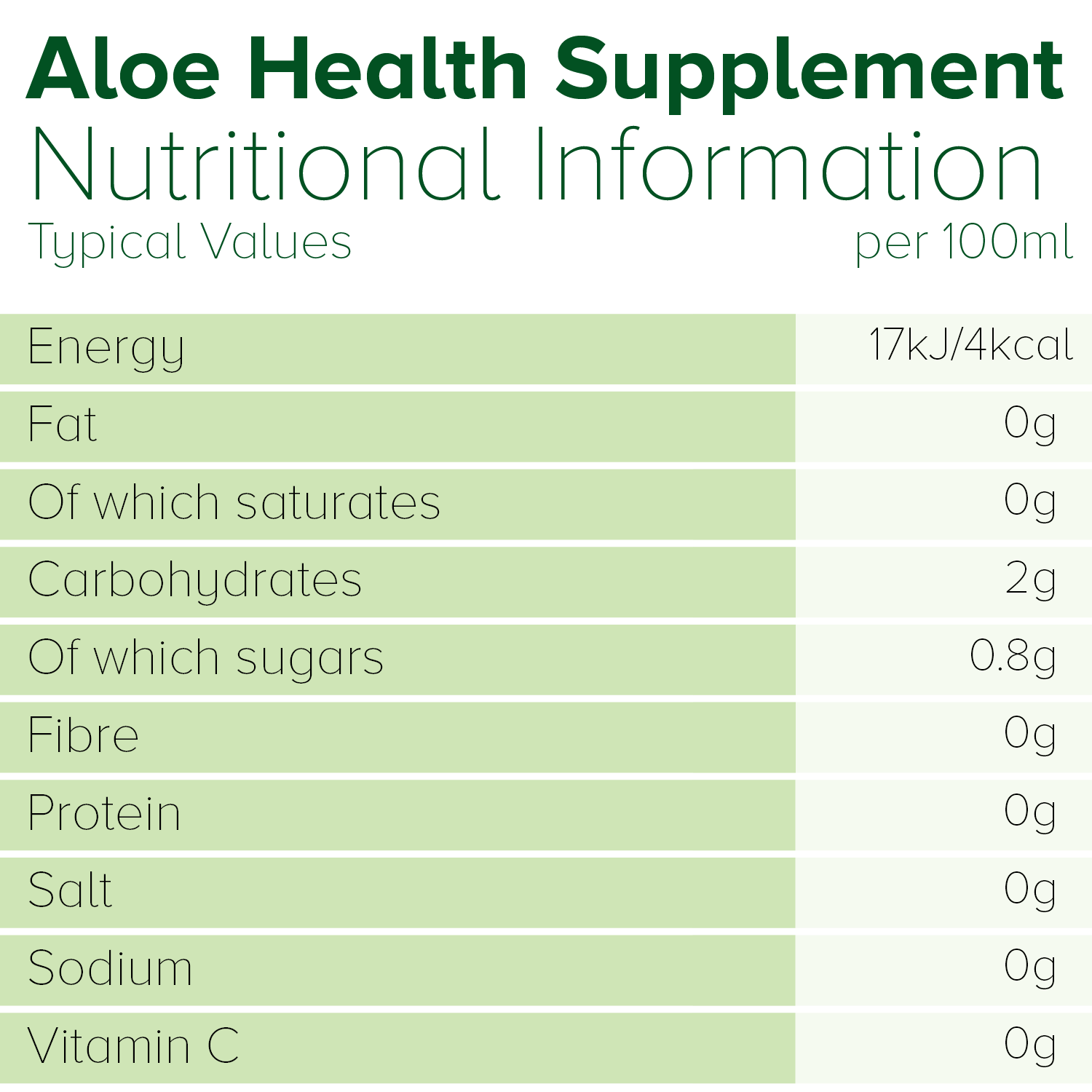 Simplee Aloe Organic Aloe Vera Juice Supplement Nutritional Information