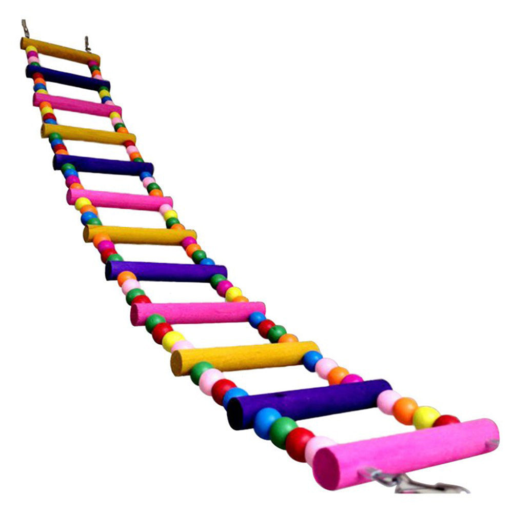 Funny Colorful Wooden Pet Bird Toys Ladder Climb Parrot Drawbridge Bridge Macaw Cage Swing Shelf Singing Parrot Bites Toy PT0113