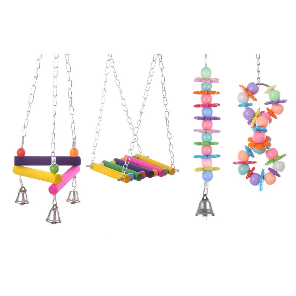 Four Types Pet Bird Parrot Parakeet Swing Standing Frame Toys Cage Accessories