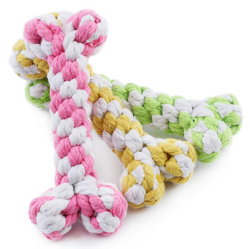 Unisex  15cm Pet Toys Supplies Cotton Rope Chew Knot Dog Bone Durable Braided Rope Accesorios Para Perros Dogs Pets Accessories