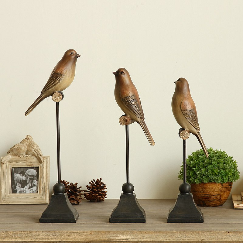 1PC Resin Bird Figurine Ornaments American Country Style Creative Artificial Les Oiseaux Decorative Home Decor Wedding Gift