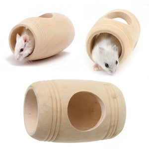 Wooden Bed House Cage Habitat Wine Cask Shape For Rat Hamster Squirrel Mouse Adorable