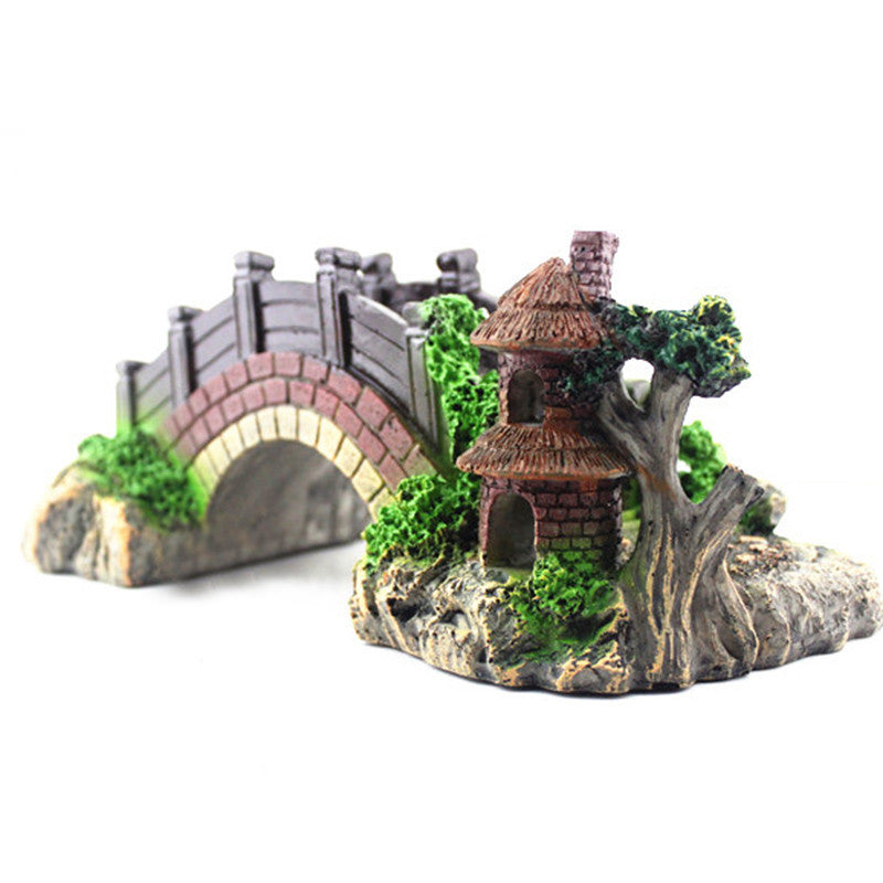 Aquarium Decoration Resin Bridge Turtle Climbing Platform Retro Arch Bridge Fish Tank Aquarium Decoration Accessories PT0606