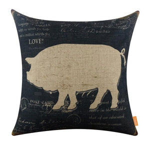 LINKWELL 45x45cm American Country Farm Life Black Milk Cow Sheep Pig Rooster Chic Pillowcase Burlap Cushion Cover Pillow Case