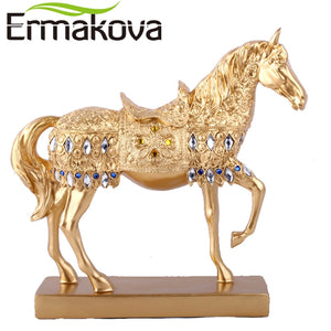 "ERMAKOVA 28.8cm(11.3"")Height Resin Golden Trotting Horse Statue Animal Sculpture Horse Figurine Miniature Home Office Decor"