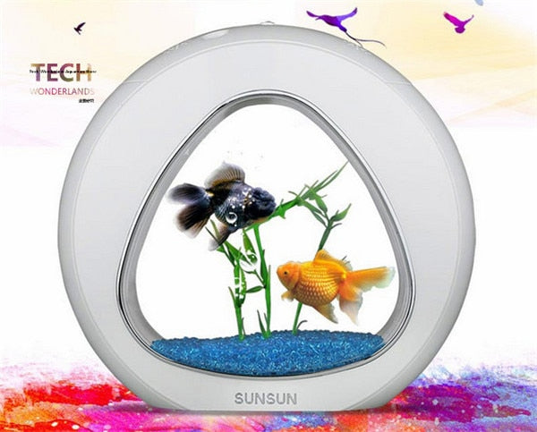 SUNSUN acrylic aquarium ecology fish tank office desktop creative aquarium integration filter LED light system YA-02 big size