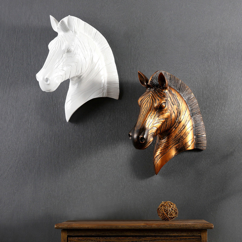 Home Furnishing Horse Home Decor Head Hanging Wall Decoration Decorative Mural Bar Retro Resin Horse Couple Christmas Decoration