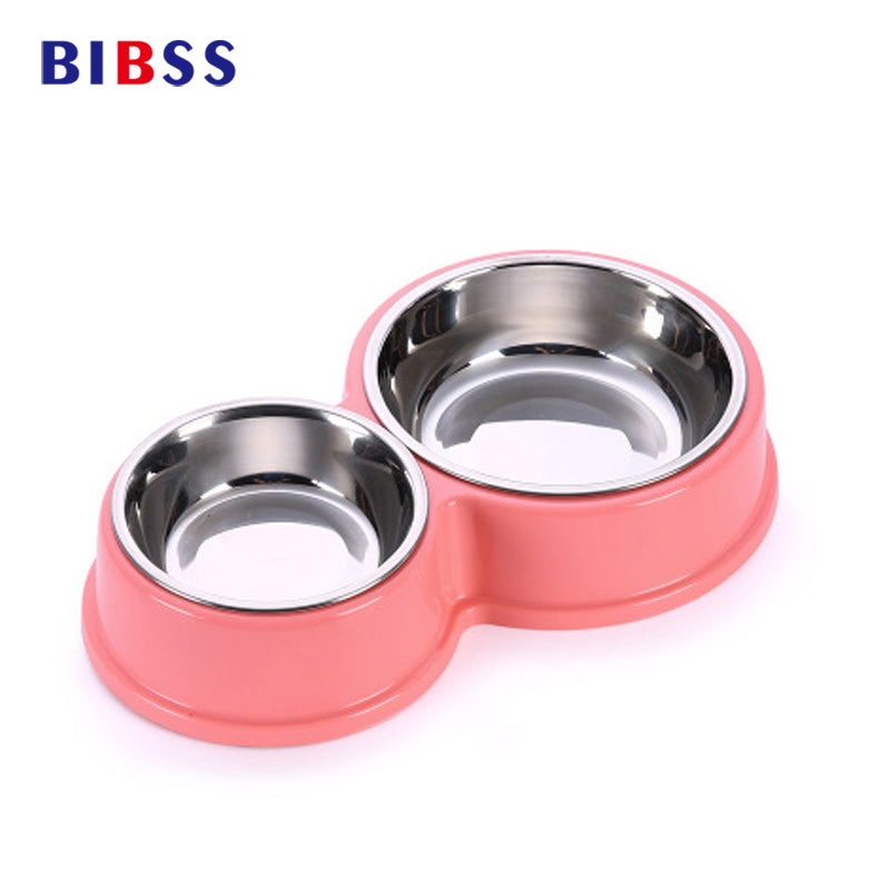 Stainless Steel Pet Dog Bowls Double Puppy Cats Eating Feeder Container  Drinking Bowl Anti-slip Pet Feeding & Watering Dish
