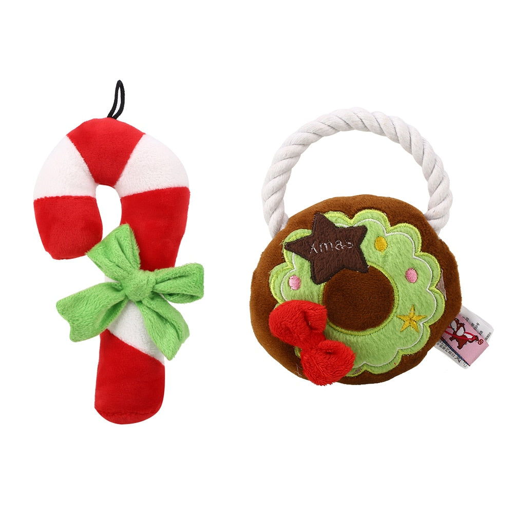 Cute Christmas Festival Pet Dog Puppy Doggy Chew Squeeze Training Toys Gift