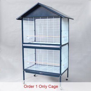 Roof Design Iron Metal Large Parrot Cage With Wheel Stand And Bird Chewing Biting Toys For Gray Parrot Big Bird Cage B34
