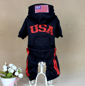 USA Winter Dog Clothes Fashion Pet Dog Coats Jumpsuit 100% Cotton Jacket Hoodies Sport Clothing For Small Dogs Apparel 25S2Q