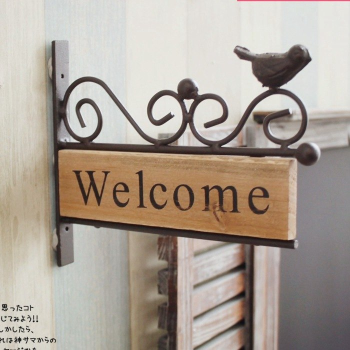 American Country Style Vintage Pastoral Home Decoration Wood Iron Bird Design Plaque Welcome Plate