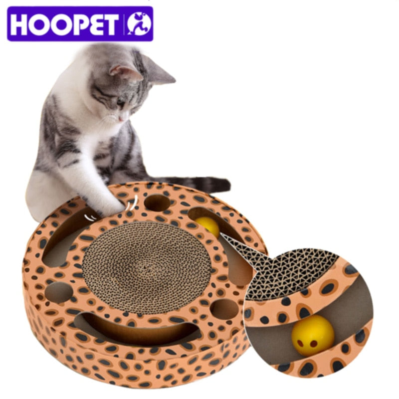 HOOPET Pet Supplies Cat Toy Rounded Scratcher Multihole with Balls Scratching Posts Kitten Mat