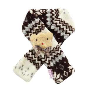 Fashion Pet Scarf Snowflake Pattern Warm Red Coffee Polyester Scarf Cute Christmas Holiday Goods For Pets