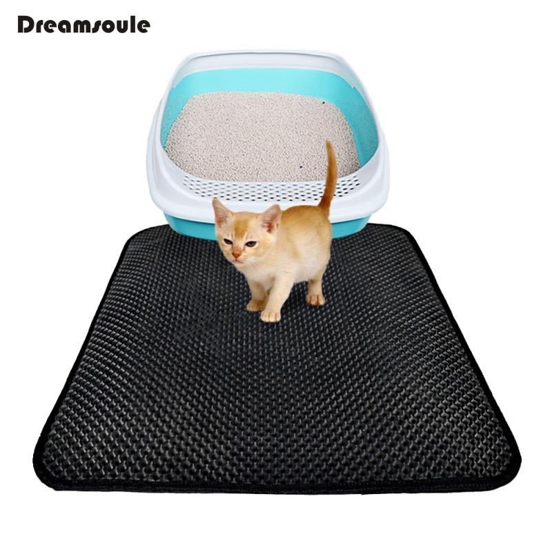 DREAMSOULE Cat Litter Mat EVA Double-Layer Cat Litter Trapper Mats with Waterproof Bottom Layer kattenmand Black Cat Bed