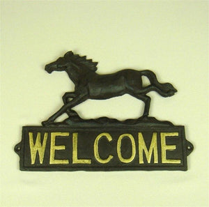 Cast Iron Horse Figurine Welcome Plaque Decorative Metal Mustang Statue Greetings Panel Ornament Craft for Door and Wall Decor