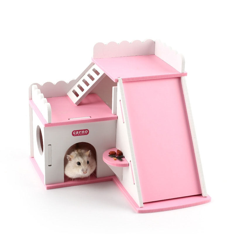 DIY Mouse Hedgehog Hamster Wooden House Luxury Villa with Slide Ladder Rooftop Room Small Pet Cage Bed Play Toy Gift
