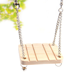 1 Pc Funny Hamsters Rabbits Rats Parrots Wooden Hanging Hammock Small Bell Swing With Chain Toys Pets Cage Accessories