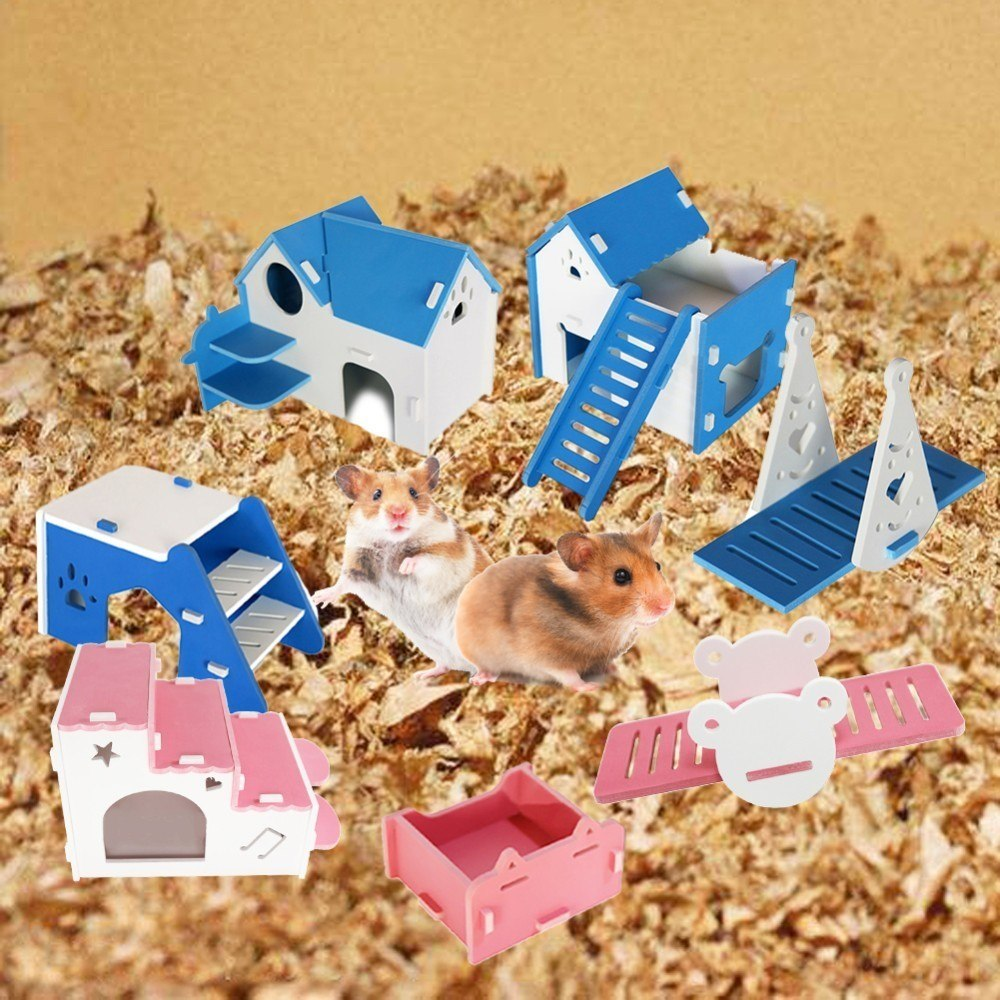 Hamster Seesaw Pet Teeter totter Teeth Grinding Food Box Nest Open-air Villa with Ladder Beveled Steps Wooden Toy 1 pcs