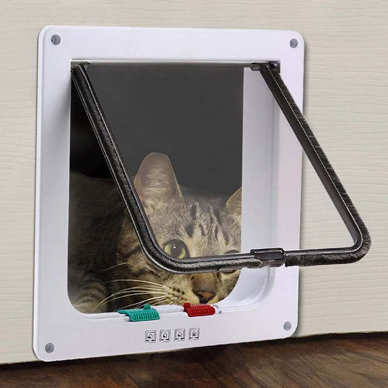Funny Plastic 4 Ways Lockable Cat Dog Door Security Flap Gate Pet Supplies Home Gate Animal Pet Cat Dog Door Pet Safety Products