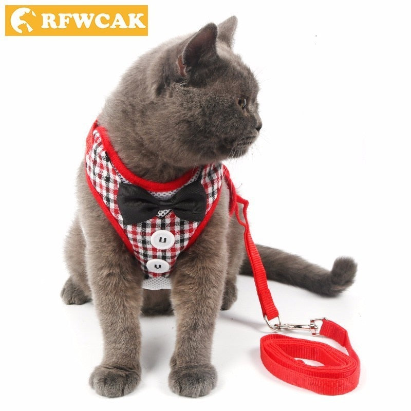 RFWCAK 1 Set Pet Cat Dog Harness Safety Walking Cat Collar Leash Pet Traction Elegant Sweet Style Cute Jacket Leash Pet Products