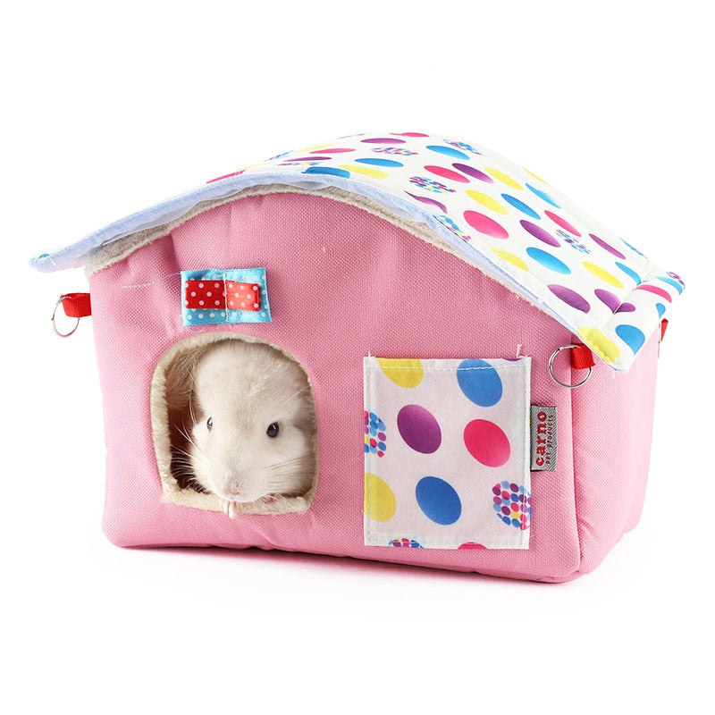 22*17*19cm Winter Warm Cotton Small Animal Pet Hamster Hanging Cage Bed Squirrel House Hedgehog Luxury Nest Toy