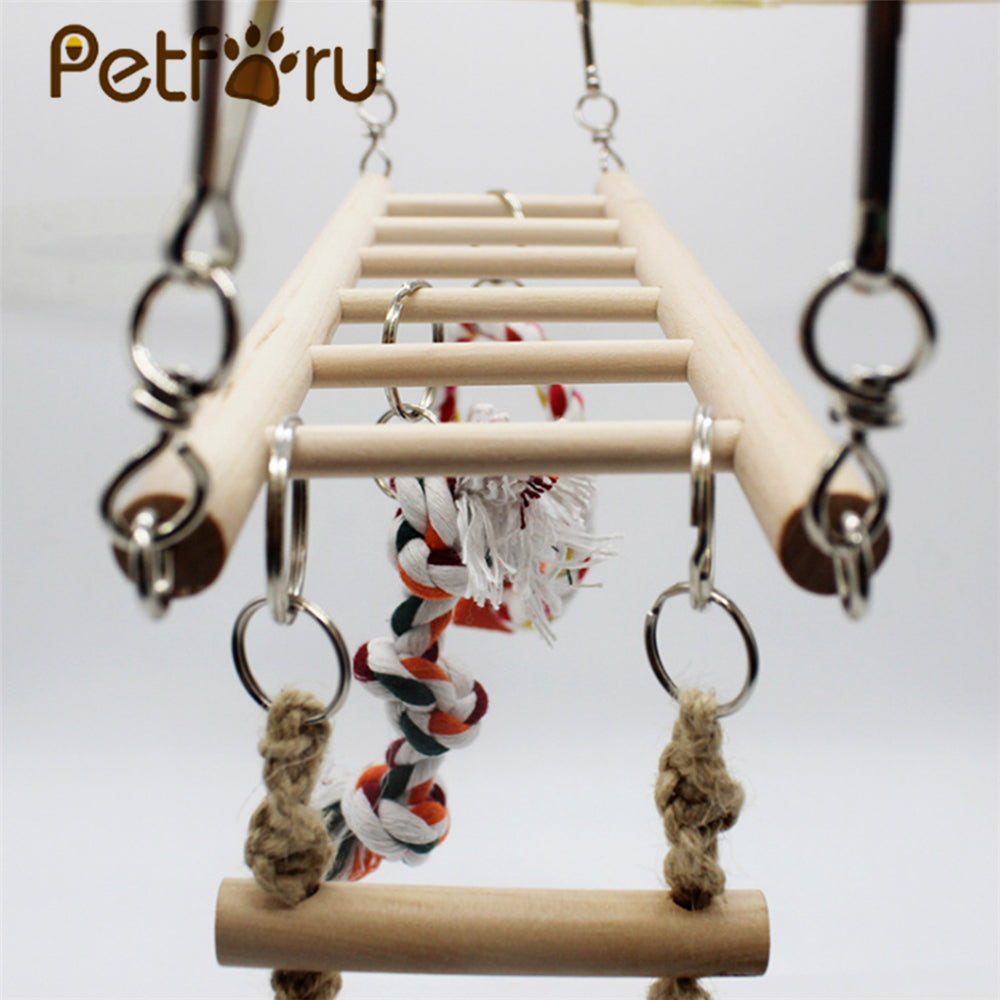 Petforu Bird Solid Wood Climbing Ladder Swing Chew Toy Parrot Birdcage Perch - Burlywood