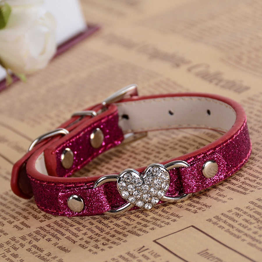 Fashion Glitter Leather Dog Collar Bling Small Pet Products For Dogs Rhinestone Dog Accessories Adjustable Buckle RED PINK