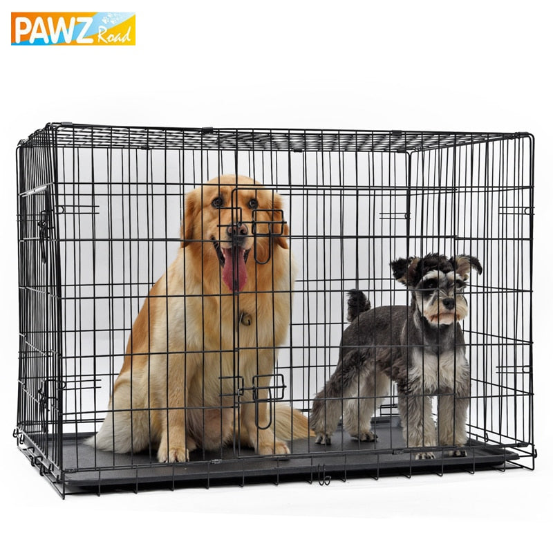 PAWZRoad Domestic Delivery Pet Dog Cage Crate Double-Door Pet Kennel Collapsible Easy Install Fit Your Pets 5 Sizes Pet House