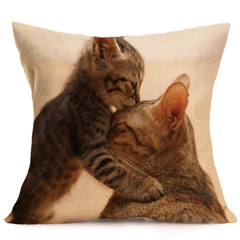 Cute Cat Pillow Case Animal Black Cat Cushion Cover Pet Pillow Covers for Home Car Decorations Pillowcase