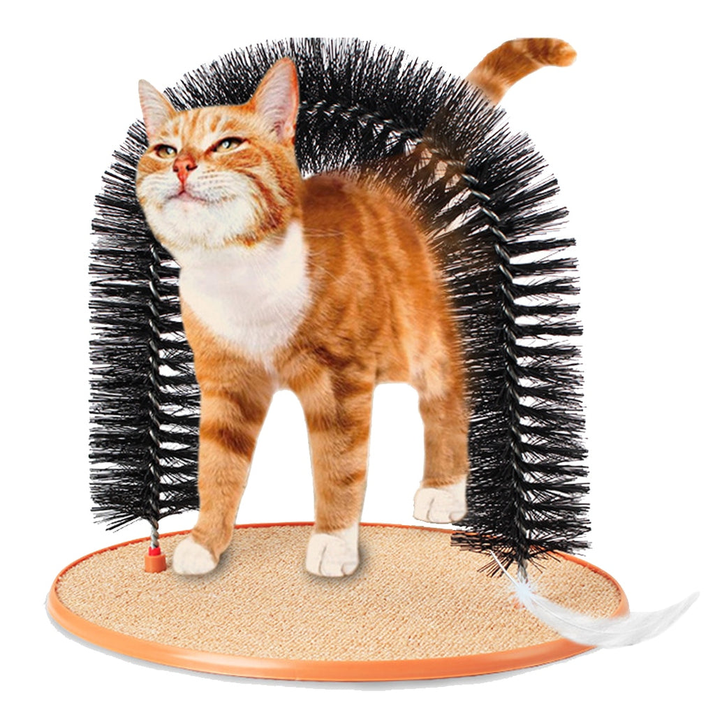 Gift Arch Pet Cat Self Groomer With Round Fleece Base Cat Toy Brush Toys For Pets Scratching Devices