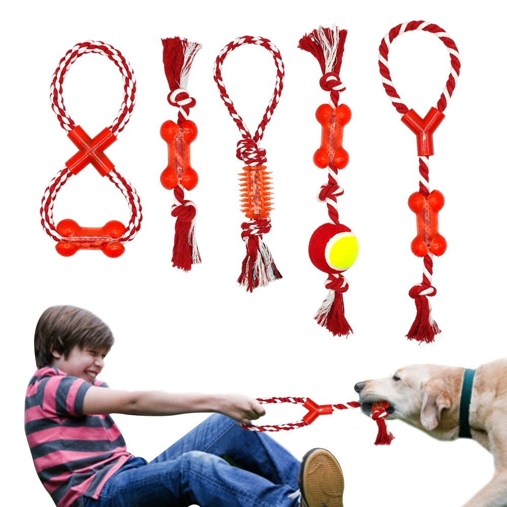 Cotton Pet Dog Rope Chew Tug Toy Knot Bone Ball Shape Pets Palying Teeth Cleaning Toys For Small Medium Large Dogs 5 Types
