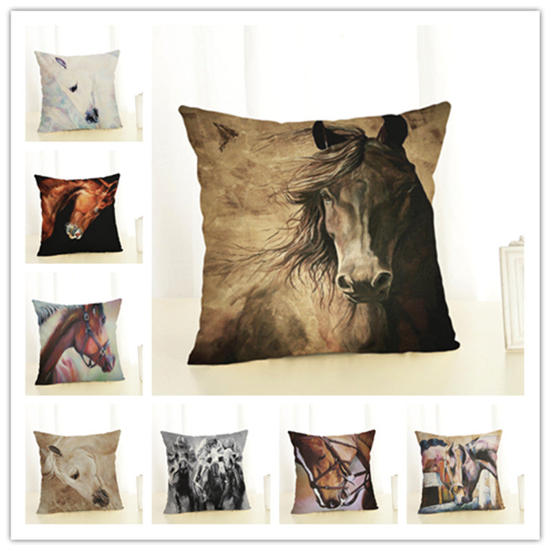 2017 New Arrival Creative Fashion Horse Pillow Cushion Cover Home Decorative Printed Throw Pillowcase Cojines Almofada