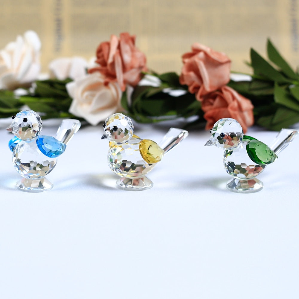 1 Piece Cute Bird Crystal Crafts Glass Animal Sparrow Figurines Miniatures For House Ornaments Home Decoration Accessories Gifts