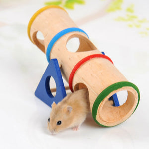 Hamster Rainbow Seesaw Wooden Small Animal Cage House Hide Play Rat Mouse Mice Drill Tube Swing Exercise Funny Toy F310