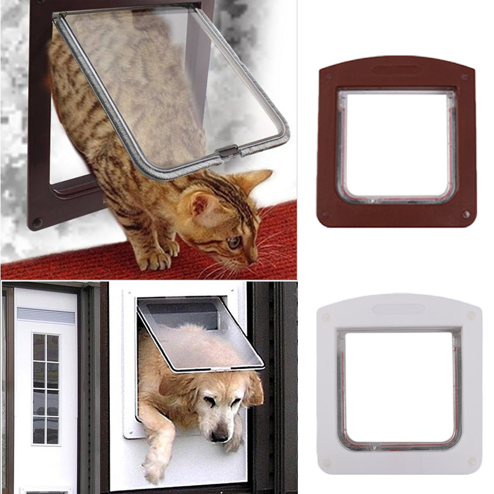 1PC New Convenient Dog Cat Safe Door Small Pet Animal 4 Way Magnetic Locking Door Lockable for Pets Entry Exit Pet Supplies