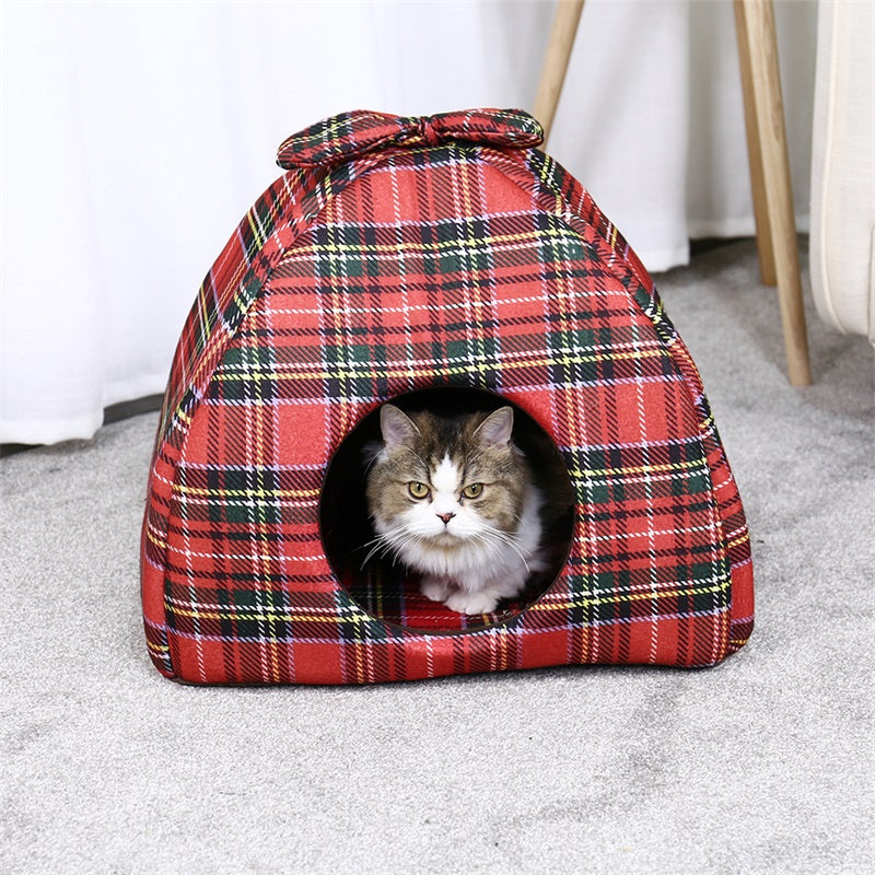 Cat Kitten House Warm Soft Winter Cotton Pet Dog Cat Bed Foldable Dual-use Kennel Cozy Nest For Large Cat  Medium Dog