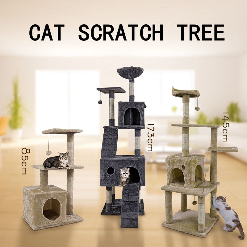 Domestic Delivery Cat Pet Furniture Cat Toy House Scratching Wood House Toy Pet Cat Jumping Toy Climbing Frame Scratching Post