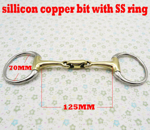 Free shipping Stainless steel eggbutt bit,sillicon copper broken mouth with elliptical link.Horse product (BT0314)