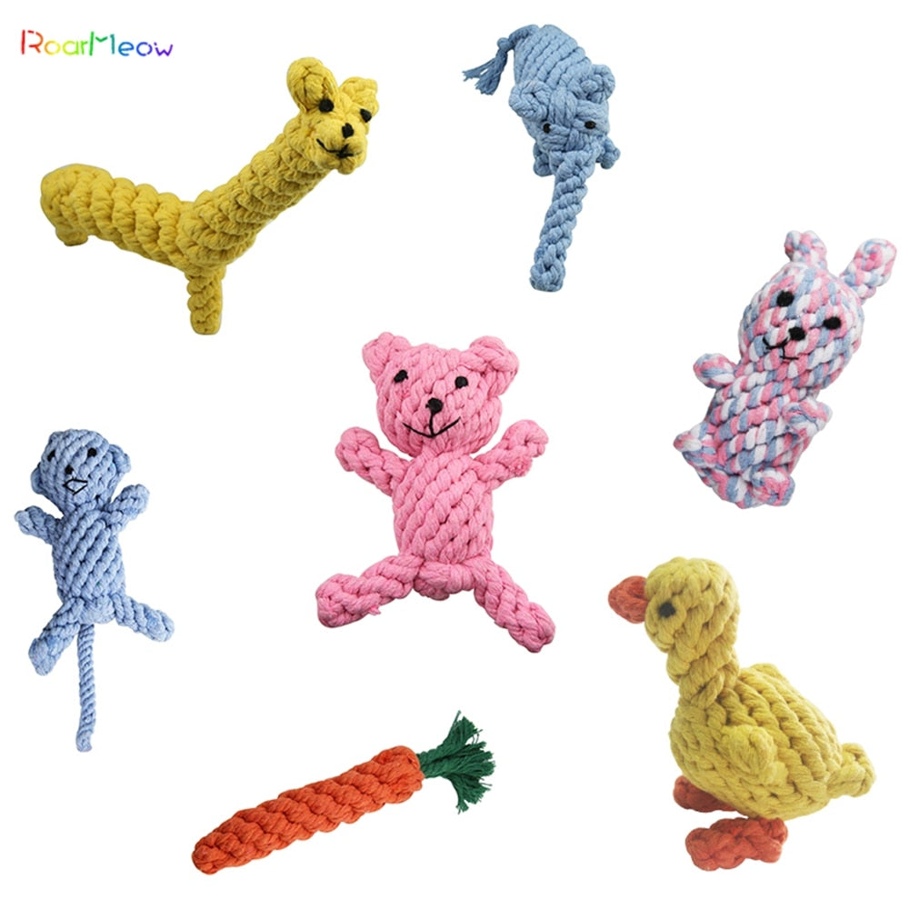 RoarMeow Pet Toys Animal Shape Cotton Rope Chews Pet Dog Toys Interactive Puppy Toys Teeth Dog Stuff Cat Toys DT005