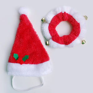 Pet Dog Cat Christmas Hat And Collar Set Dog Costume Santa Hats With Bells For Pets Christmas Decoration