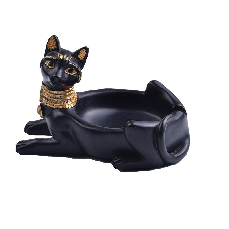 Resin Cat Home Decor Animal Figures Home Decoration Ashtray Ornament Gift Retro Figurines & Miniatures
