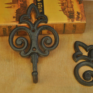 6 Pieces Cast Iron Hook Metal Wall Mounted Flower Hook Home Garden Key Coat Hanger Vintage Rural Country Decoration Free Ship