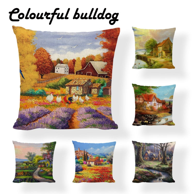 2017 New Hot French Country Vintage Garden Forest House Cushion Covers Art Couverture Garden 18 Linen Office Chair Throw Pillow